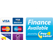 Finance options including Sage pay, Visa, Visa Electron, Mastercard, Maestro, Delta, Solo and Pay4Later